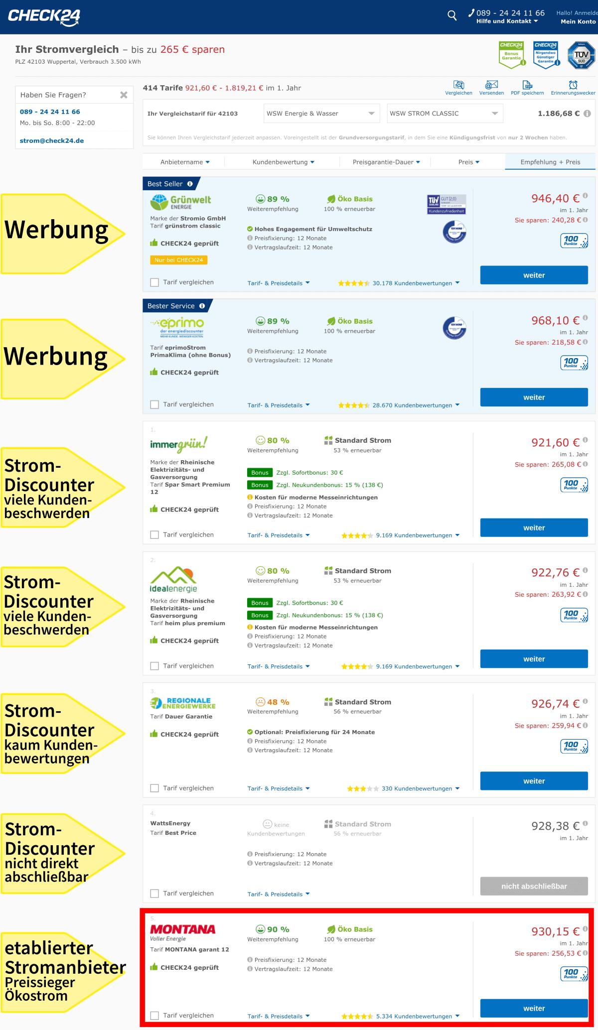 Stromanbieter einmalig wechseln in Wuppertal, Vergleichsportal Check24, günstige Stromanbieter