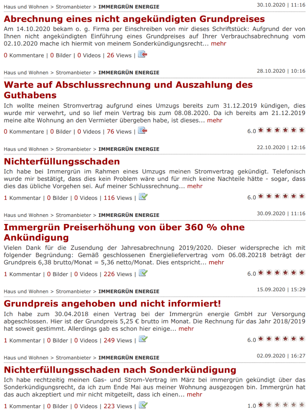Strompreisvergleich in Stuttgart: Die aktuellsten Kundenbeschwerden zum Stromanbieter Immergrün im Online-Beschwerdeportal Reclabox (Stand November 2020)