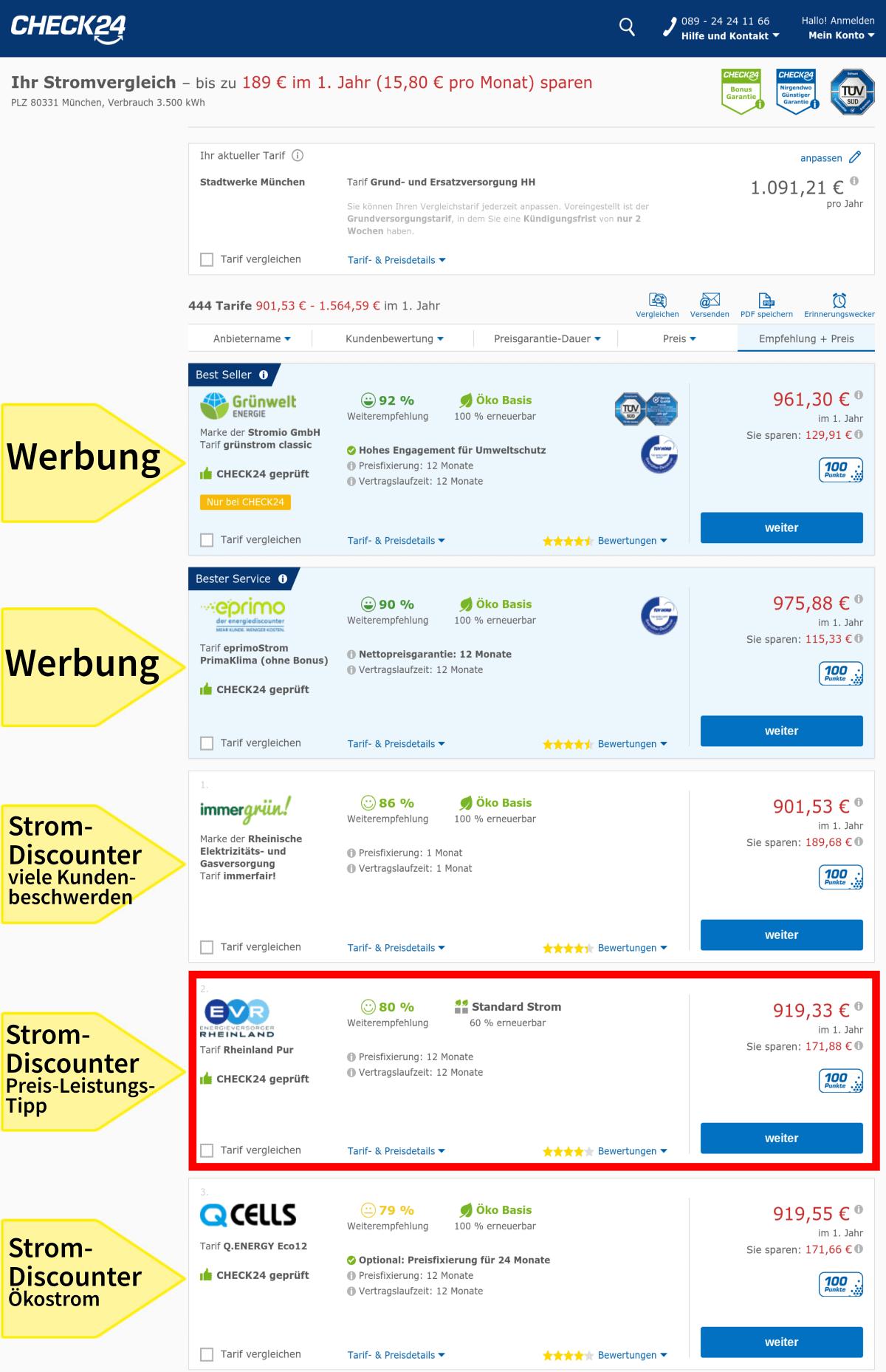 Die Auswahl im Vergleichsportal Check24, Stromanbieter einmalig wechseln in München