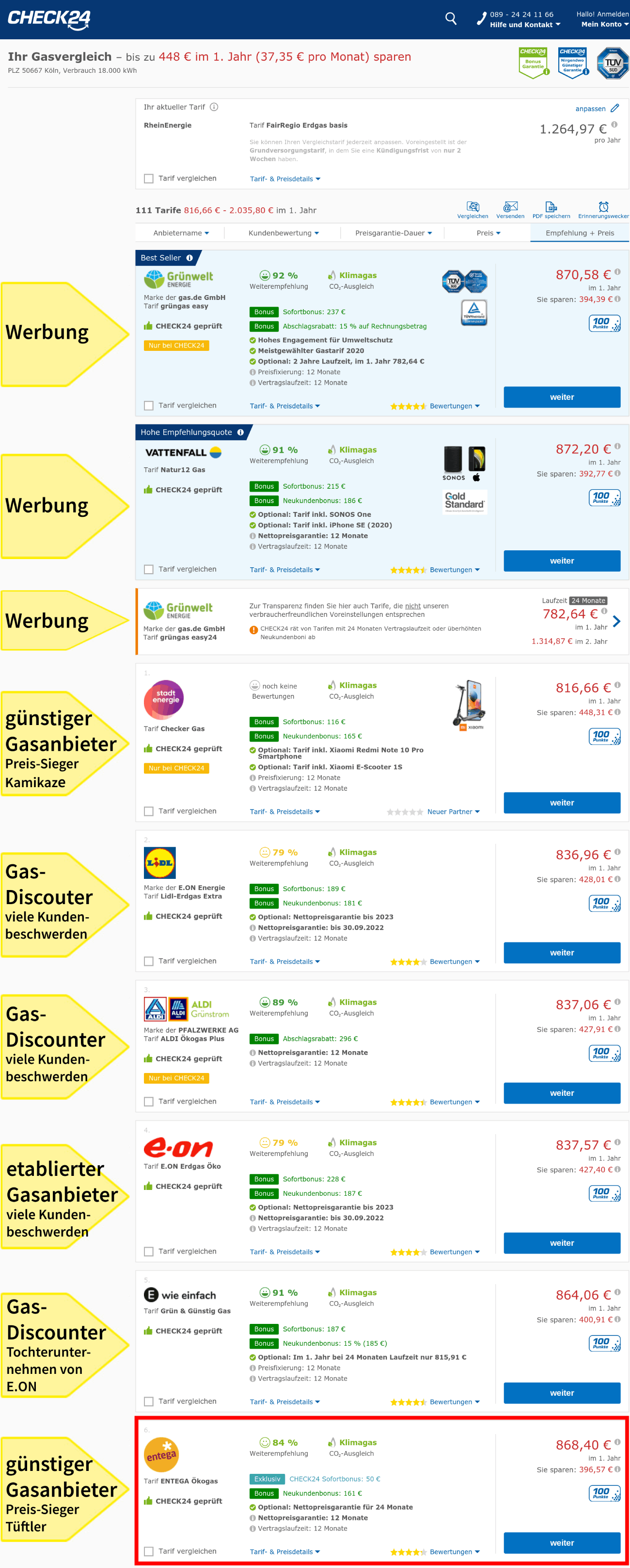 Die Auswahl im Vergleichsportal Check24, Gaspreisvergleich für Tüftler.