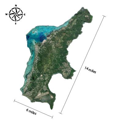 Island of Guam rough measurements