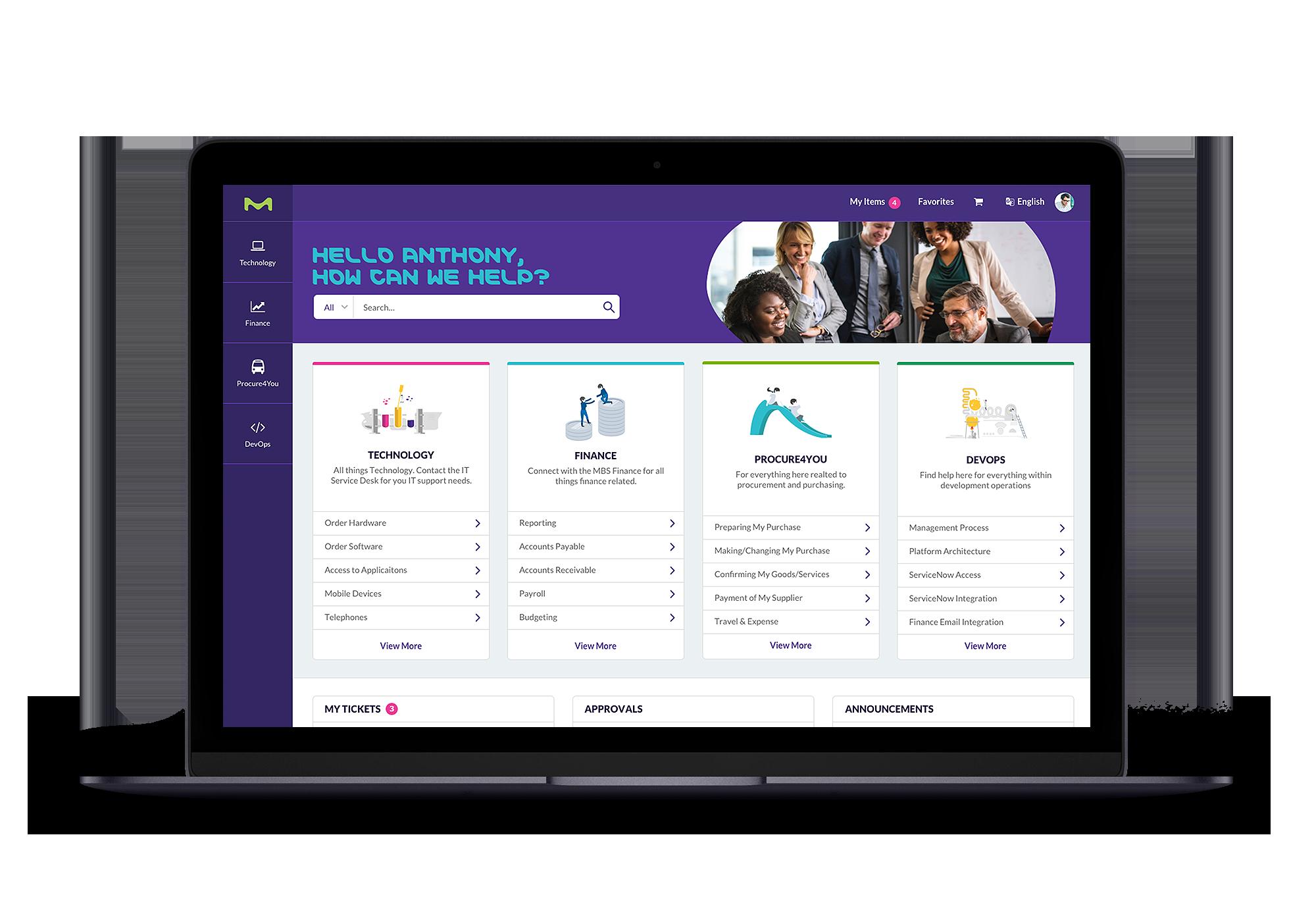 NewRocket Merck ServiceNow Service Portal Design