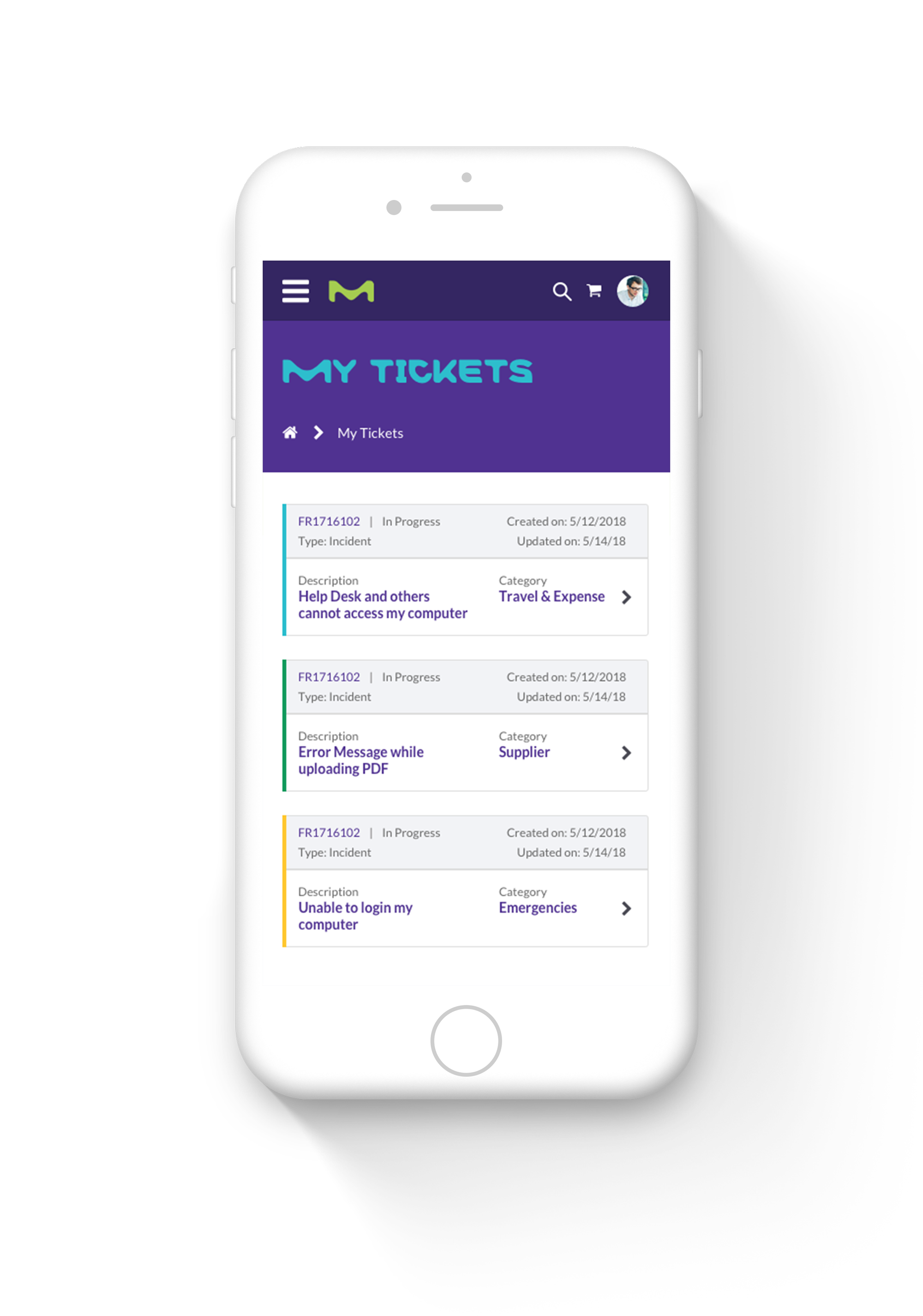 Mobile Tickets Screenshot of Merck ServiceNow Service Portal