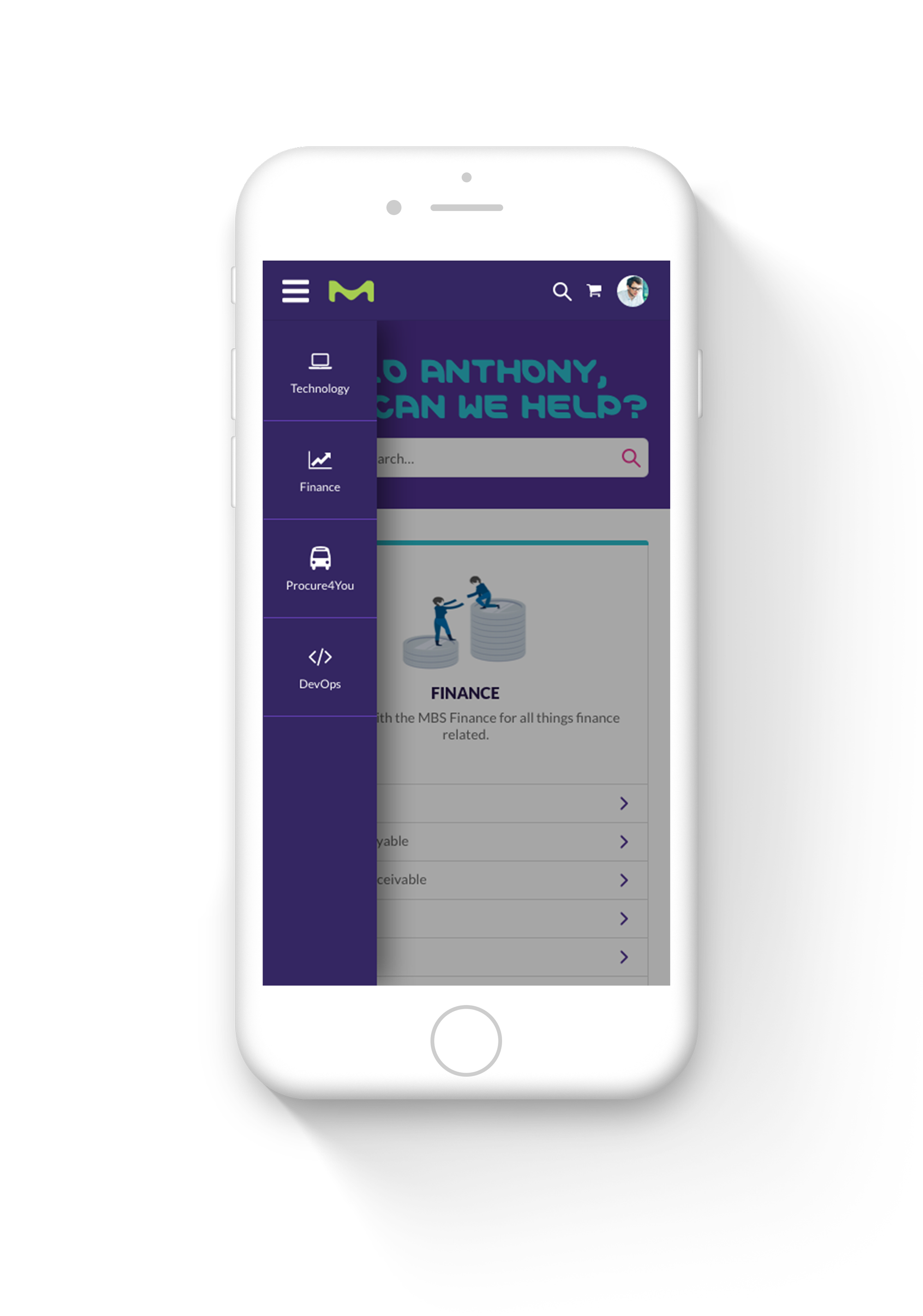 Mobile Menu Screenshot of Merck ServiceNow Service Portal