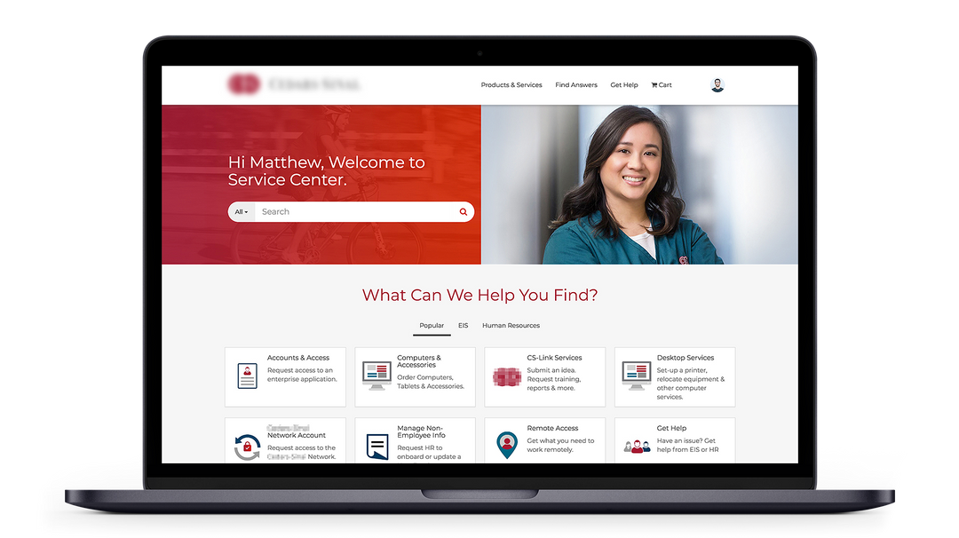 Medical Center ServiceNow Service Portal Design