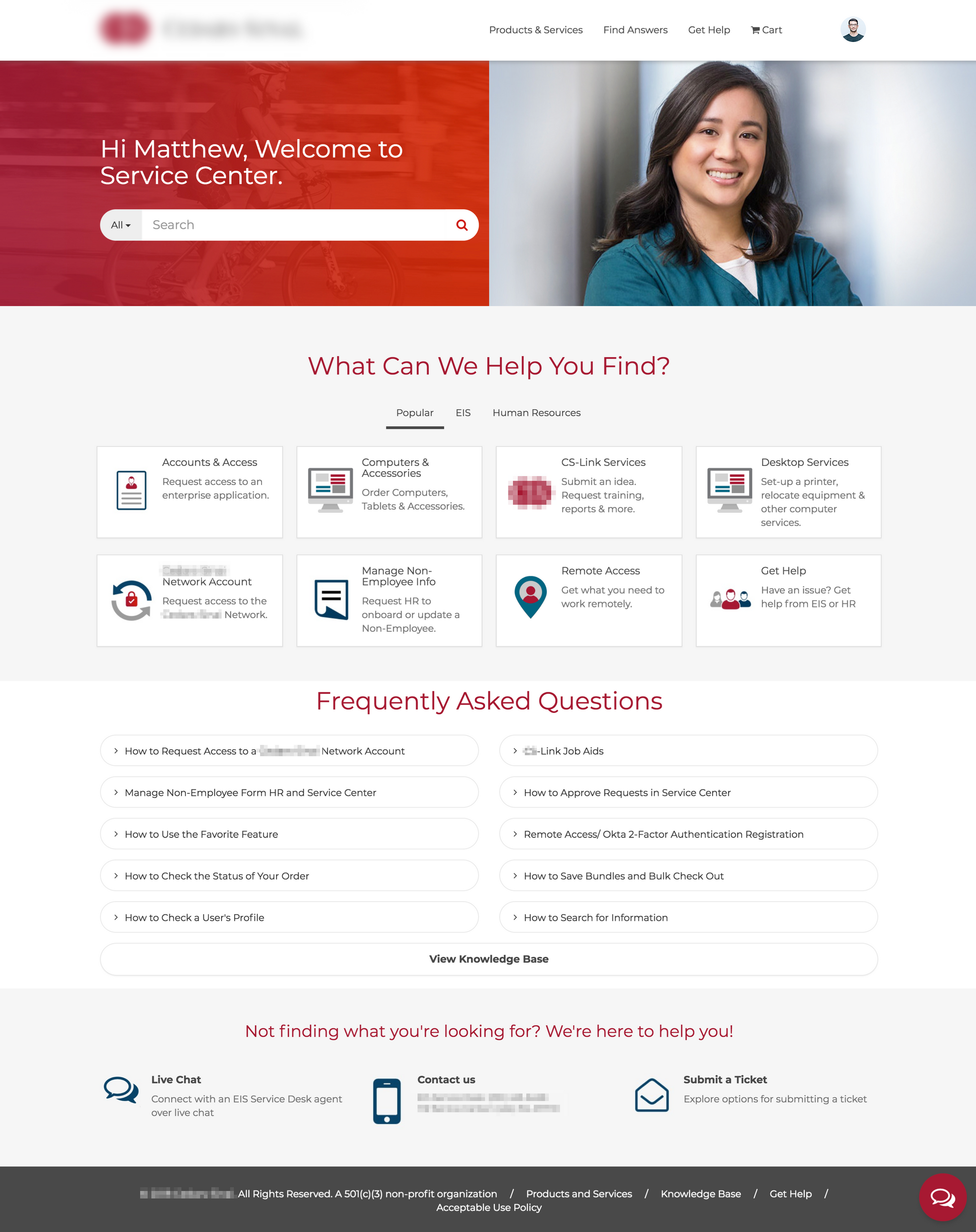ServiceNow Service Portal Design for Medical Center