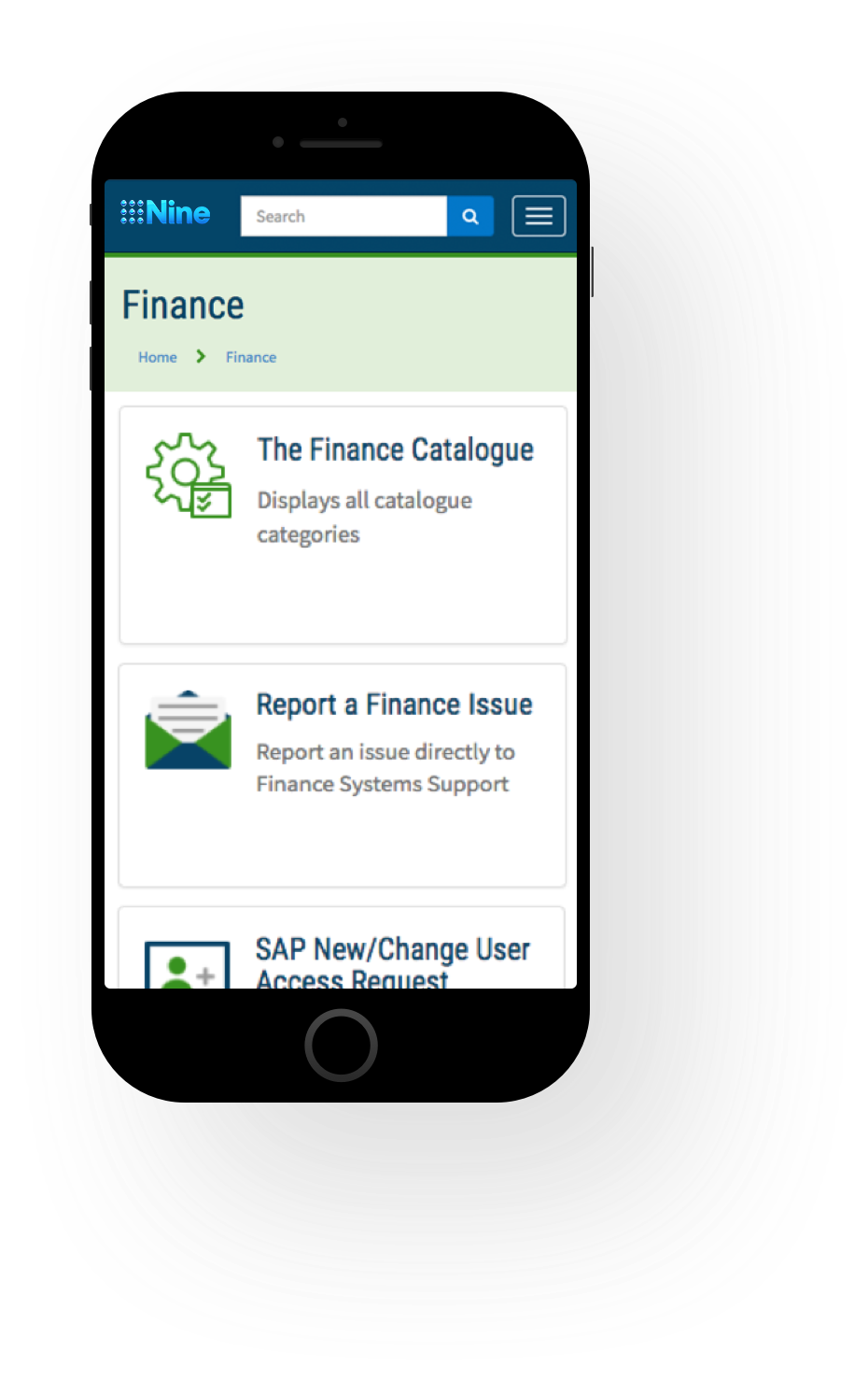 Mobile Finance Screenshot of Channel Nine ServiceNow Service Portal