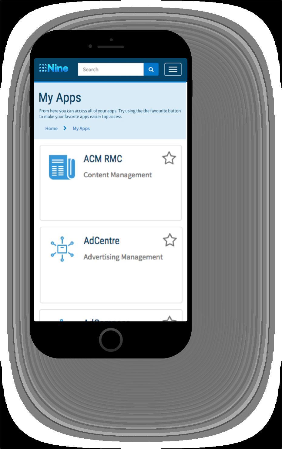 Mobile Menu Screenshot of Channel Nine ServiceNow Service Portal