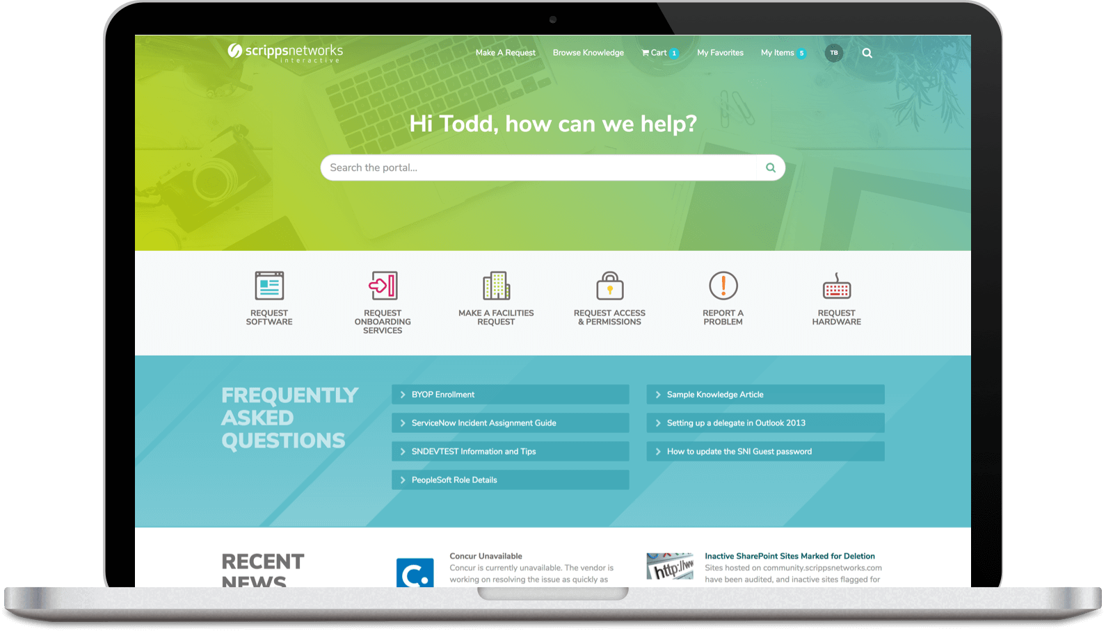 Service Portal Design for Scripps