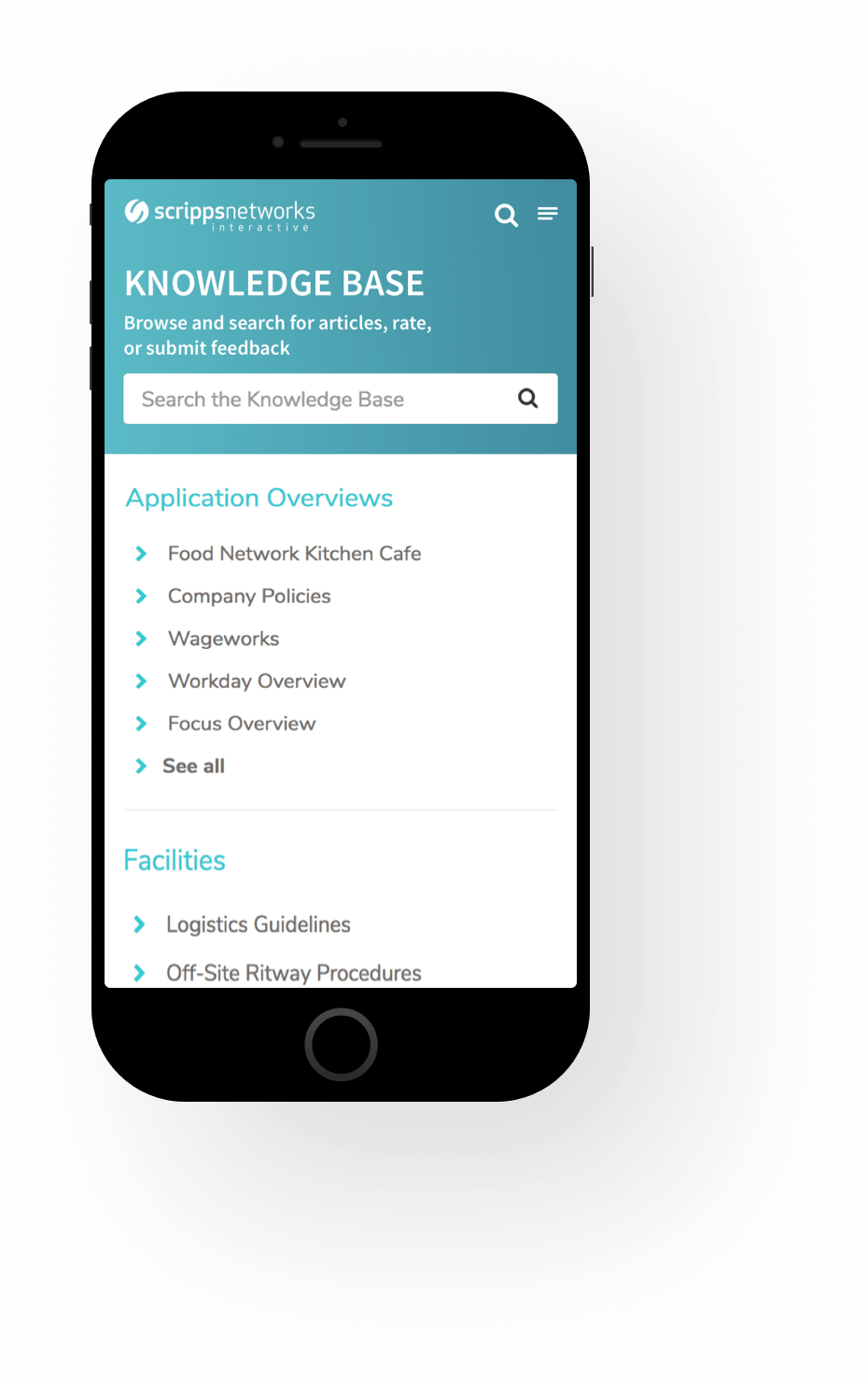 Mobile Knowledge Base Screenshot of Scripps ServiceNow Service Portal Service Portal