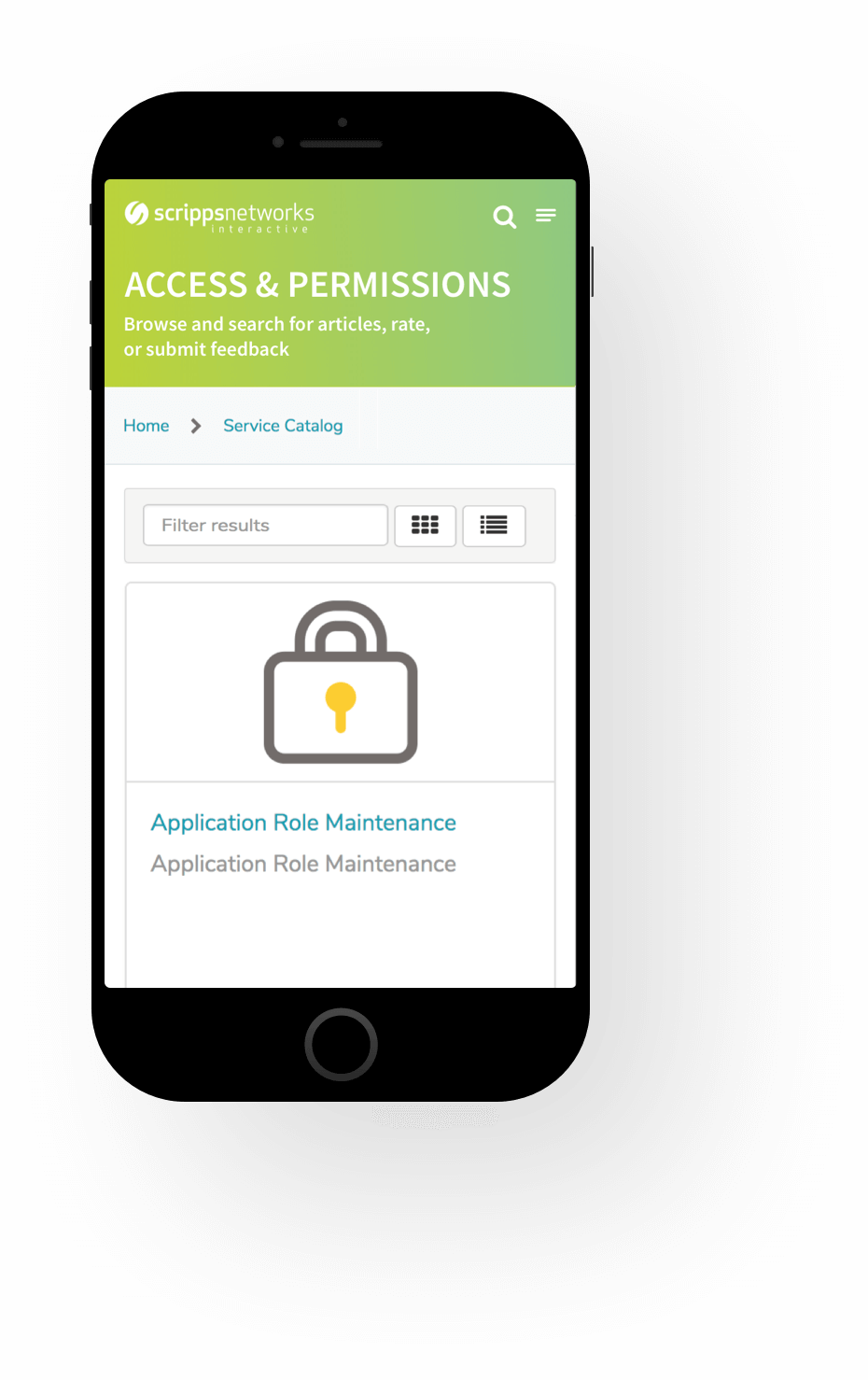 Mobile Permissions Screenshot of Scripps ServiceNow Service Portal Service Portal