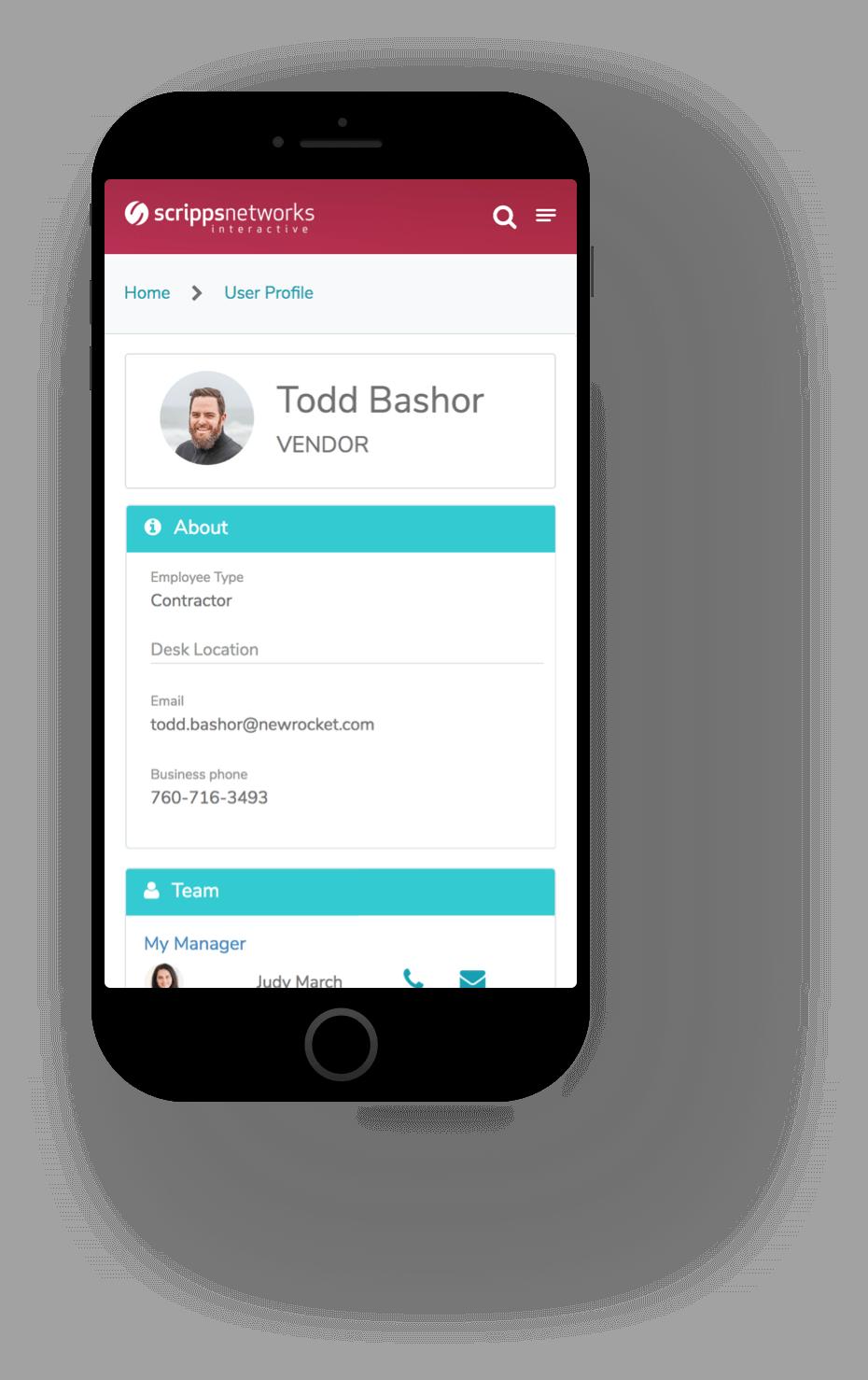 Mobile Profile Screenshot of Scripps ServiceNow Service Portal Service Portal