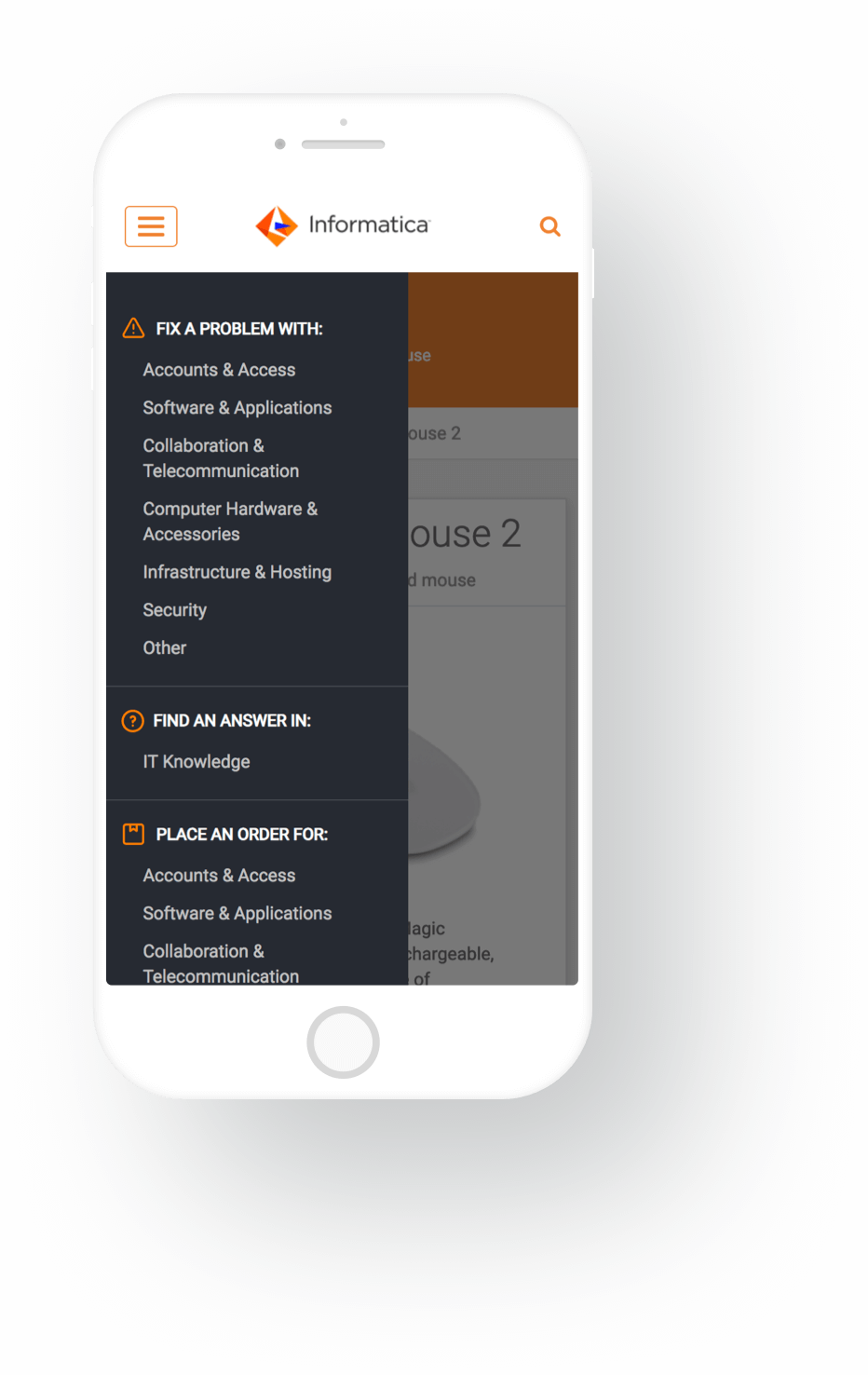 Mobile Menu Screenshot of Informatica ServiceNow Service Portal