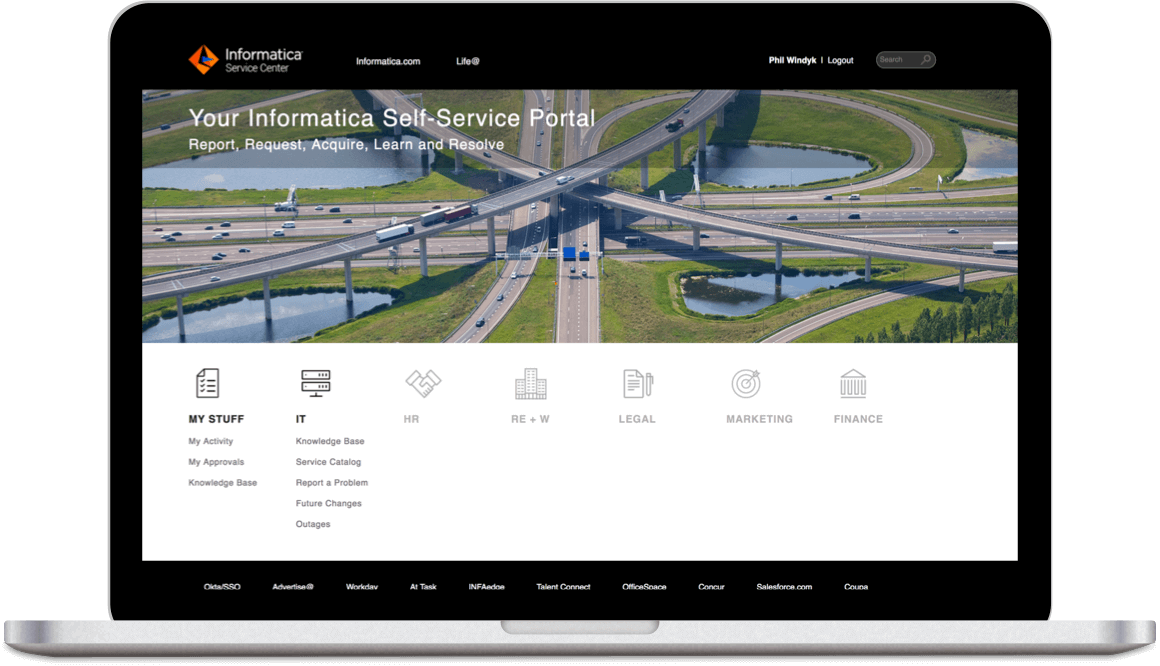 Old vs New Design for Informatica Service Portal