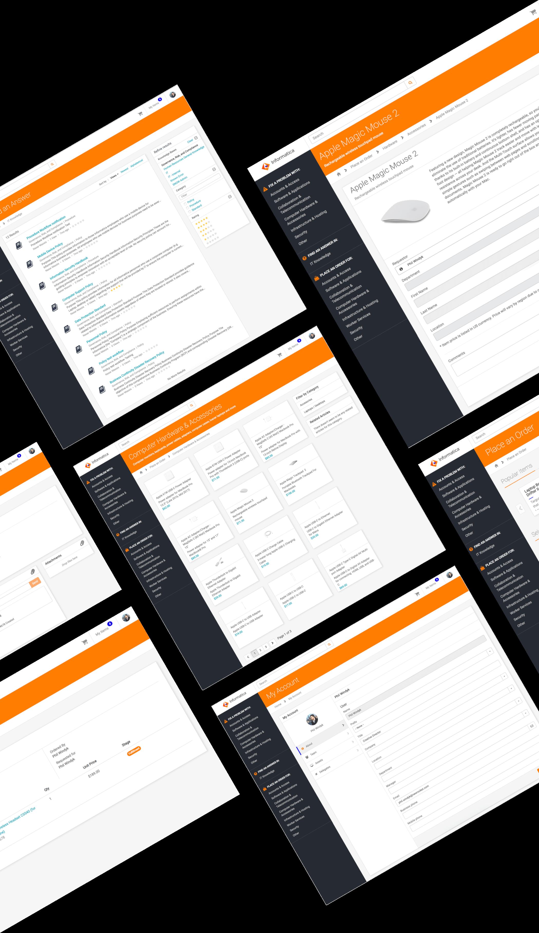 UI of ServiceNow Service Portal for Informatica