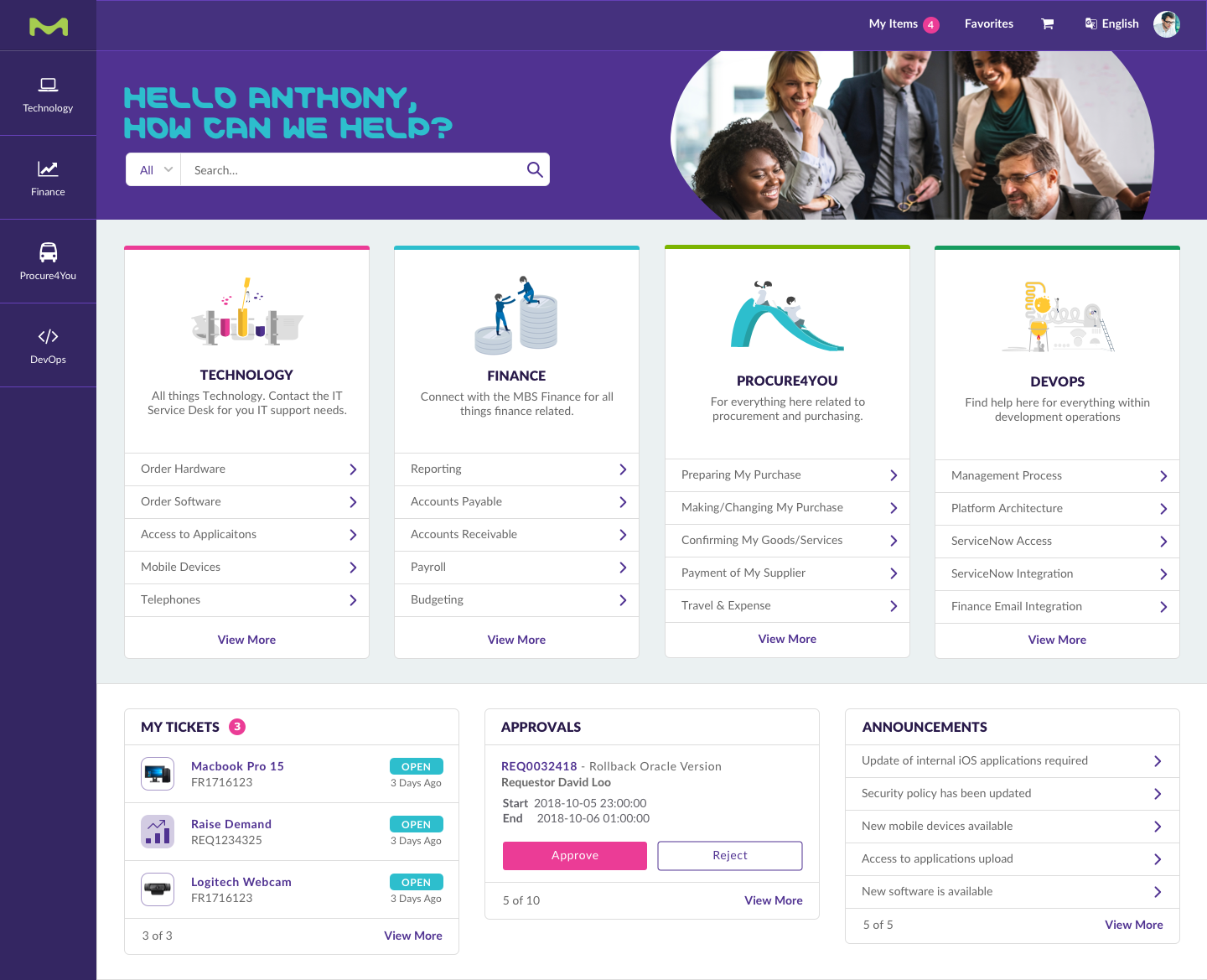 ServiceNow Service Portal Design Example for Merck