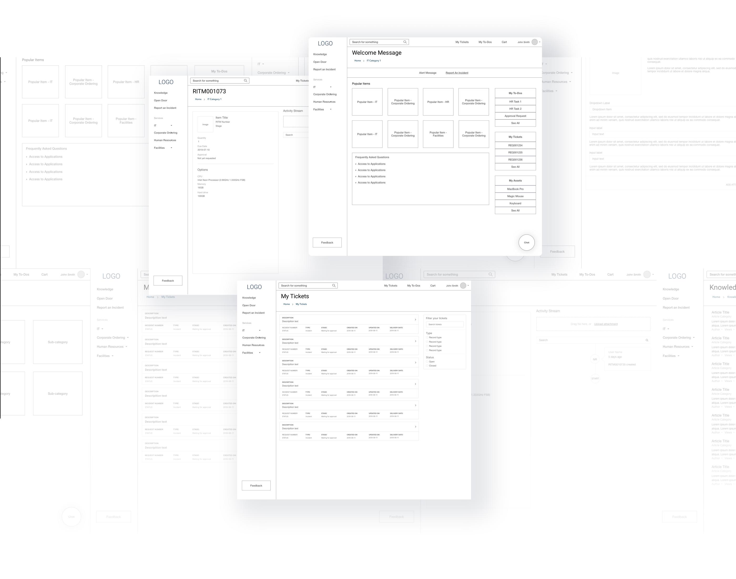 Wireframe Designs for Retailer ServiceNow Service Portal