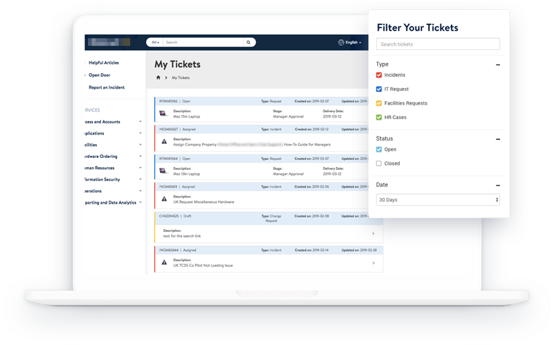 Ticket Status Feature for the Retail Service Portal on ServiceNow