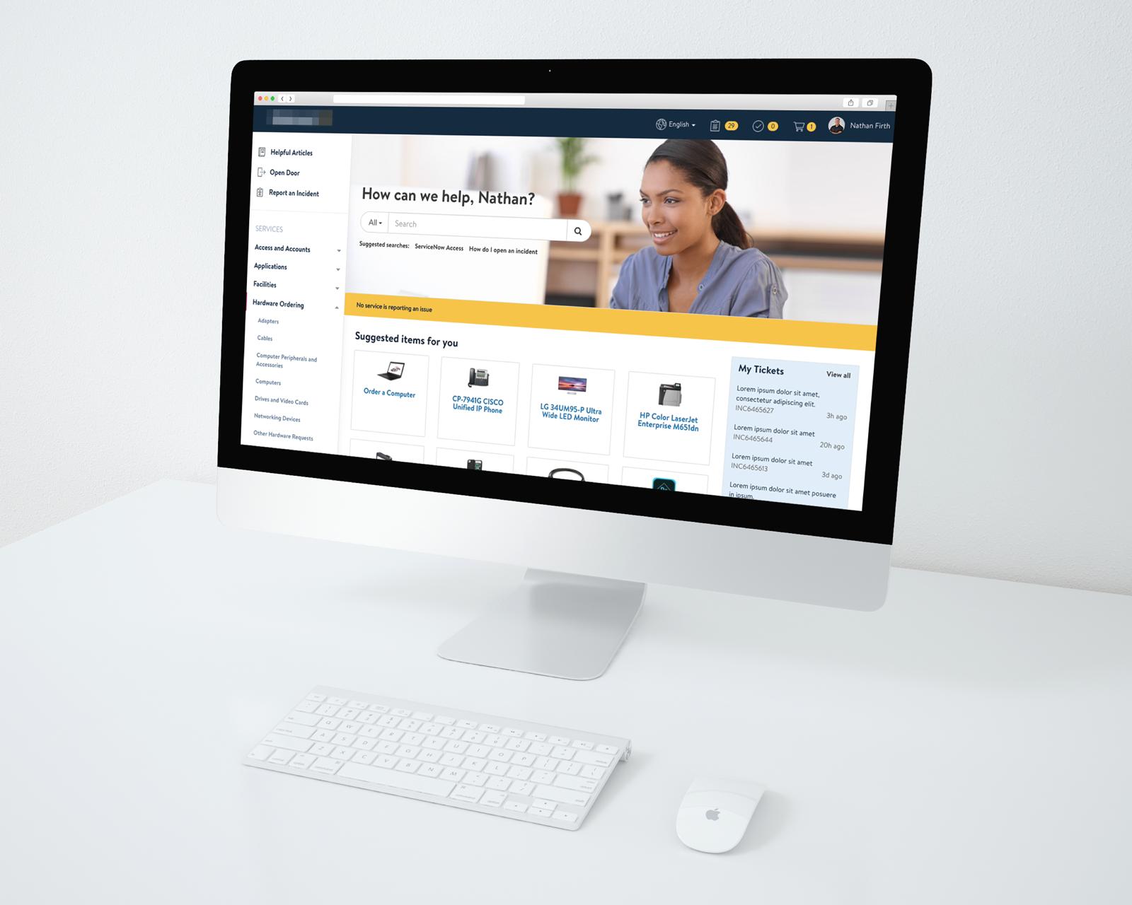 Retailer Mac Desktop Mockup Service Portal Design