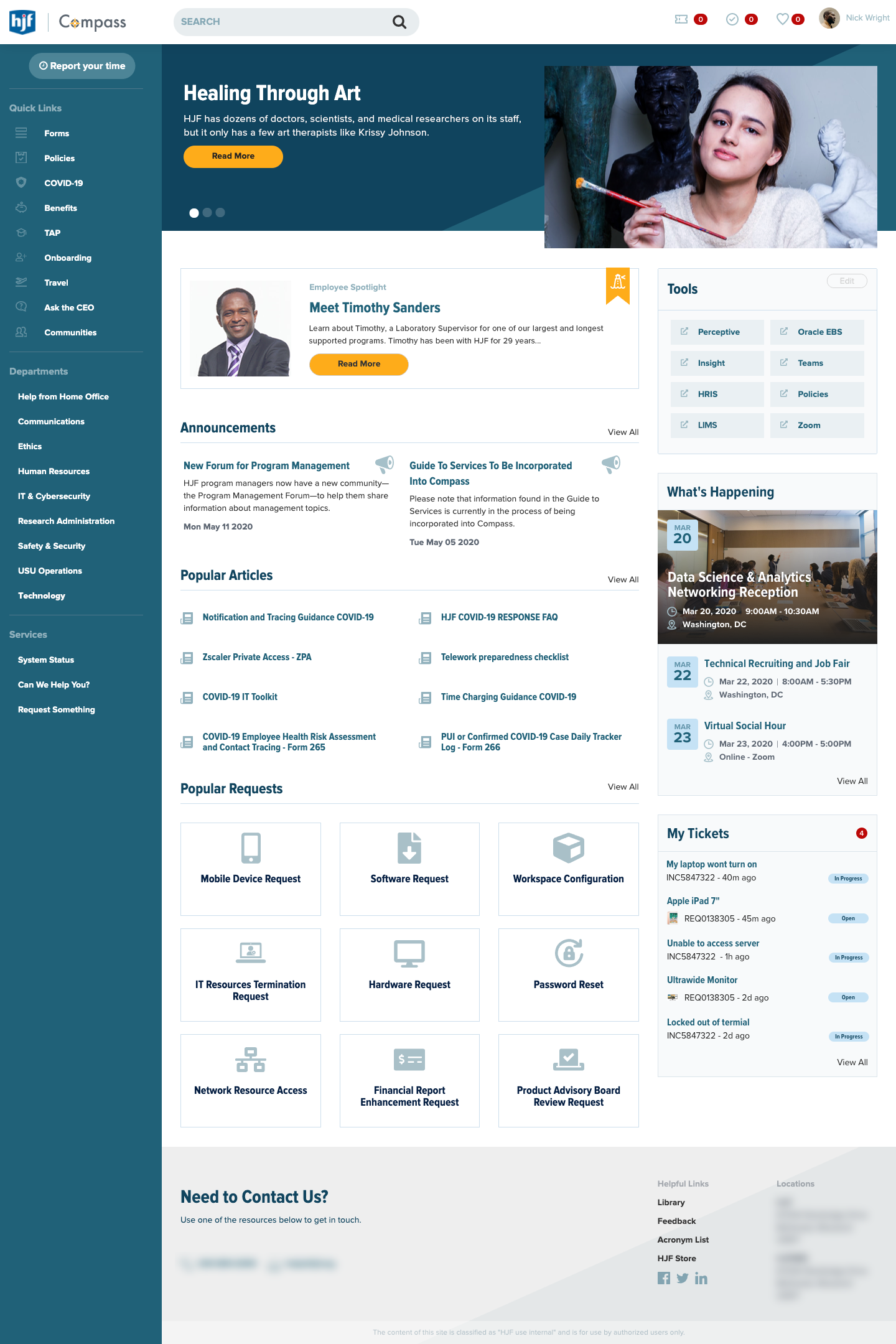 ServiceNow Intranet Homepage Design for HJF