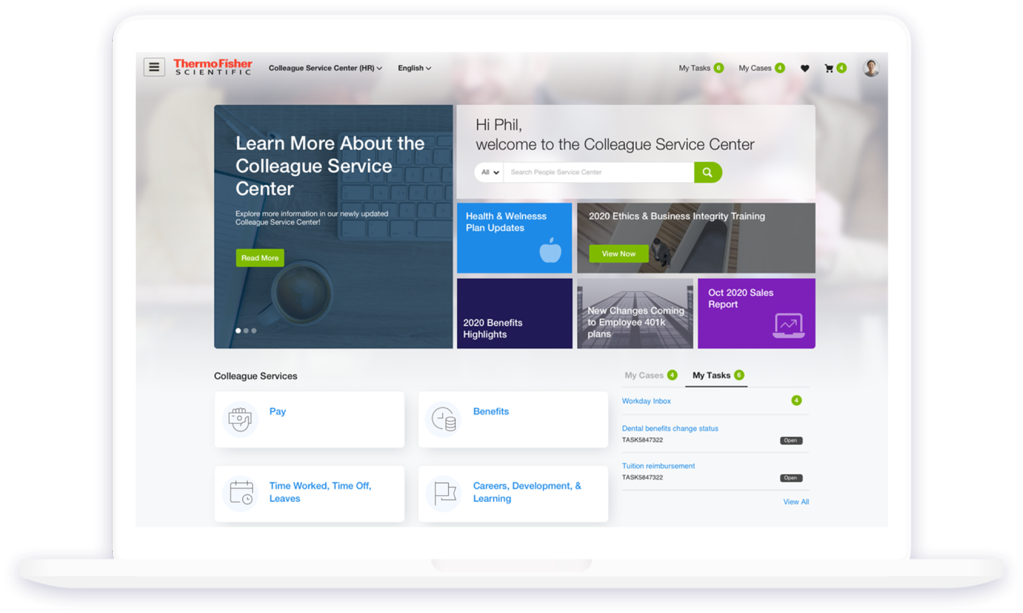 Macbook Example of Thermo Fisher HR ServiceNow Service Portal