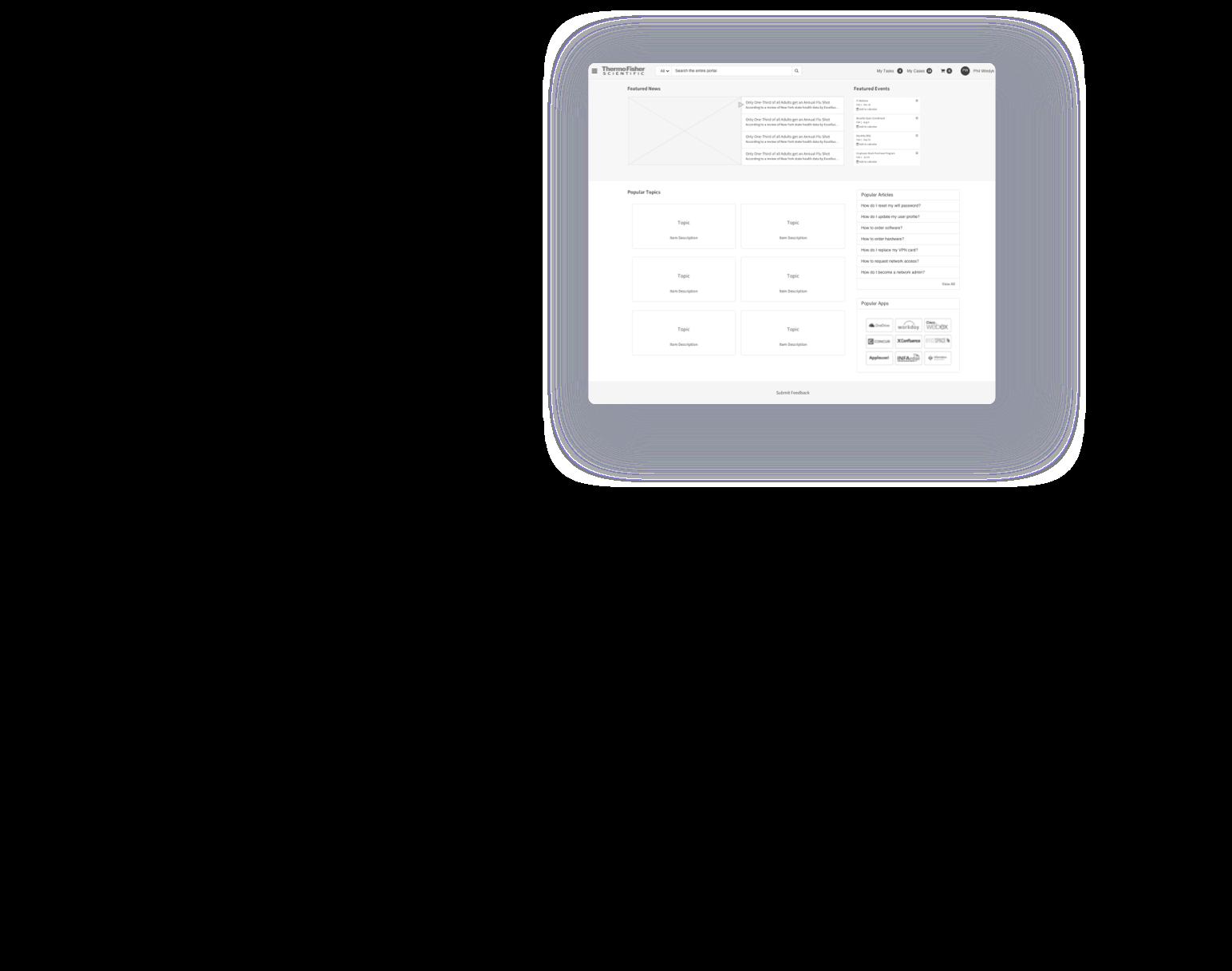 service portal wireframe design