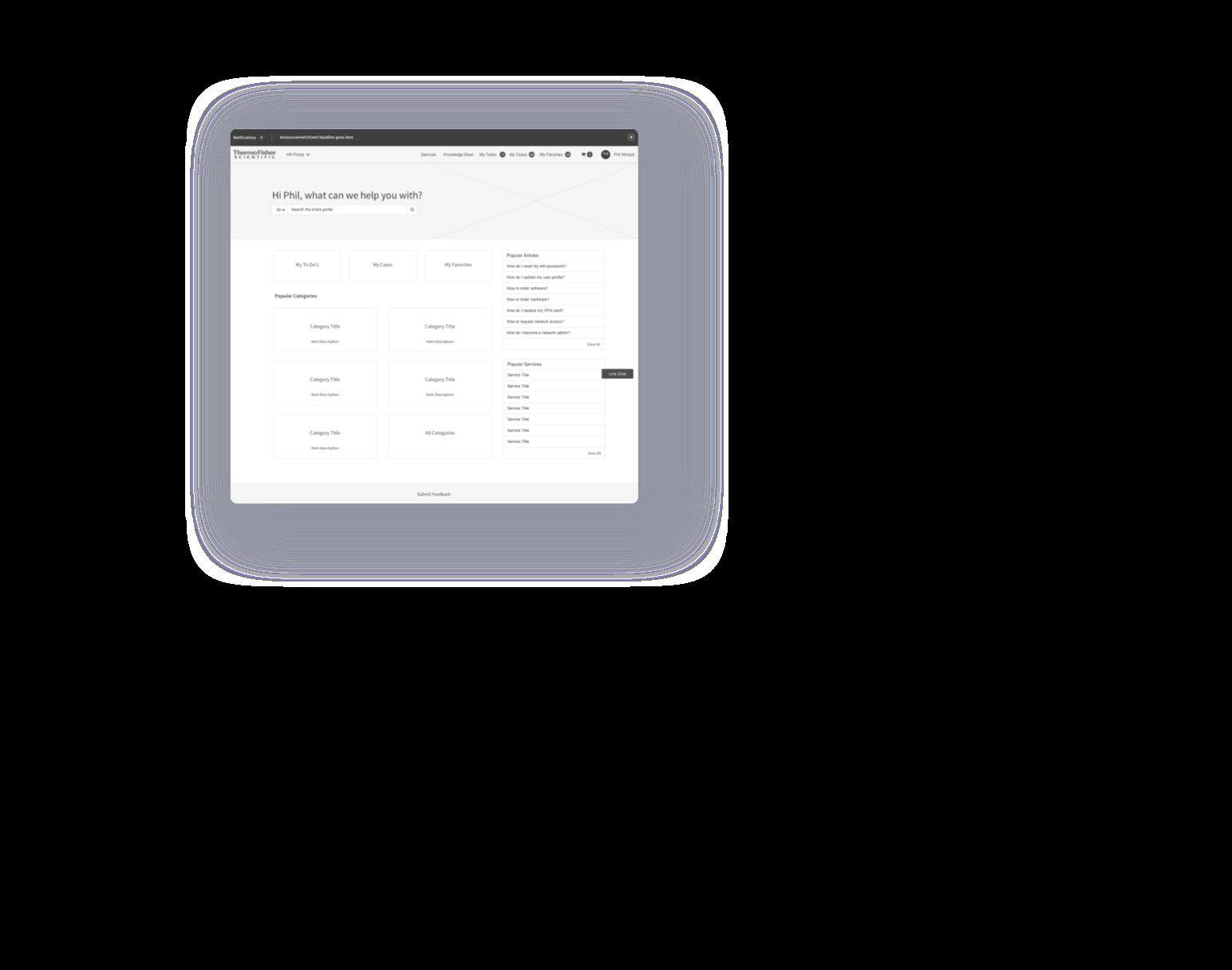 service portal wireframe homepage design