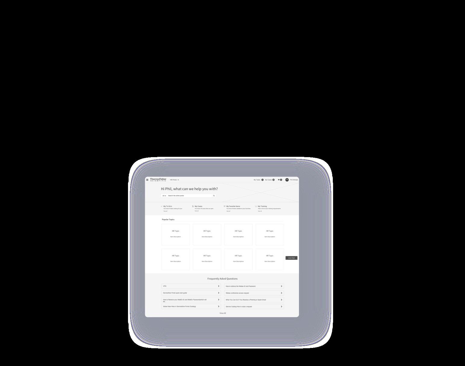 servicenow service portal wireframe design