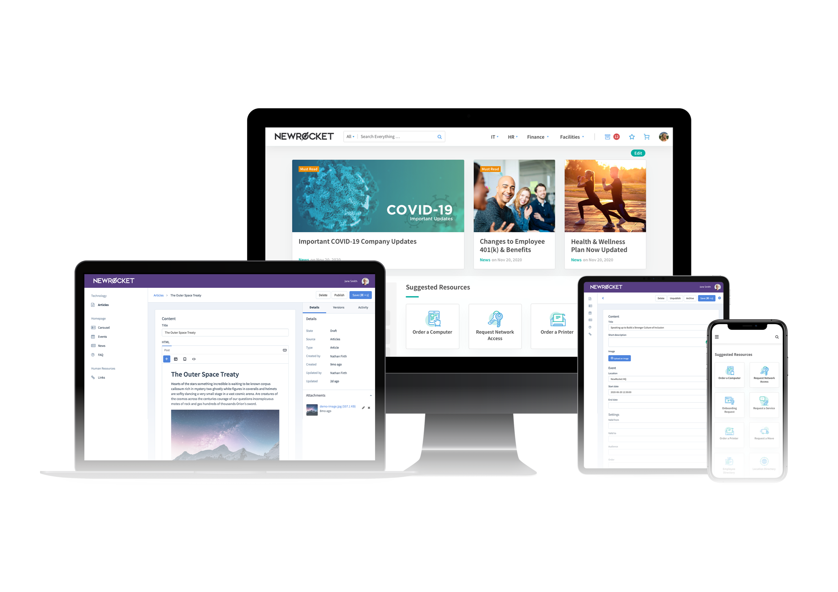 NewRocket mockups for a ServiceNow content management system.