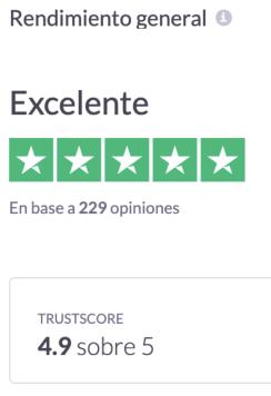 Calificación servicio al cliente según Trustpilot