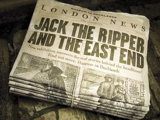 Old newspaper  Jack the Ripper Headline