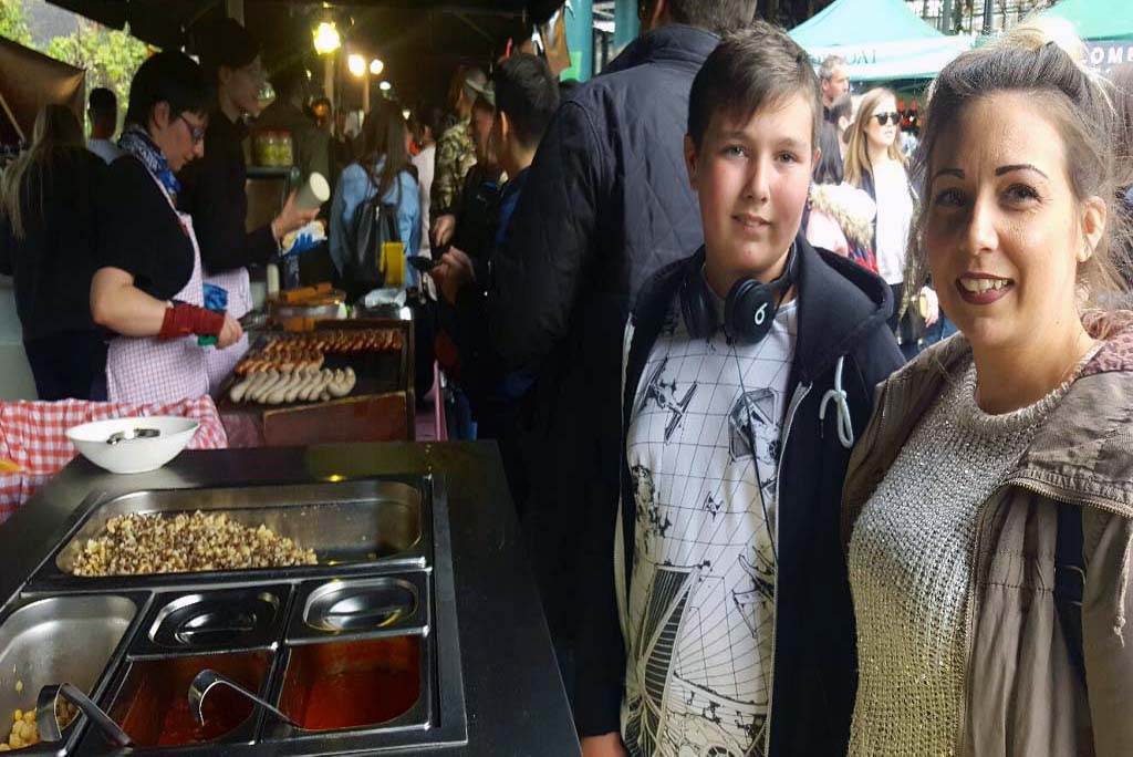 guests on London Food tour at Borough market