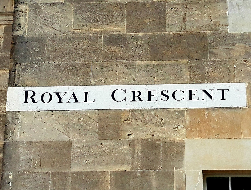 Royal Crescent Street Sign, a  stop on taxi tour