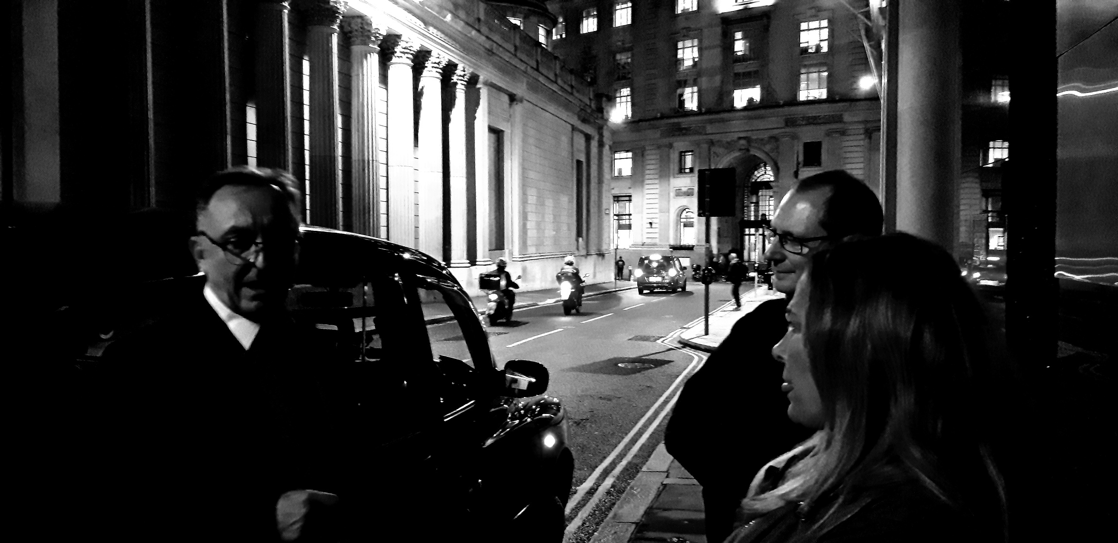 guests on a london taxi ghost tour