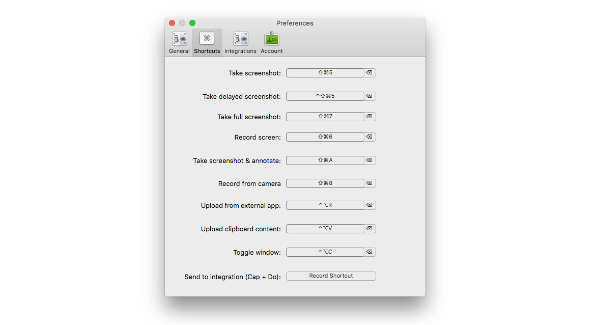 cloudapp screen recording mac app preferences