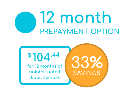 12 Month prepayment option - $104.44 for 12 months of continuous service. 33% savings.