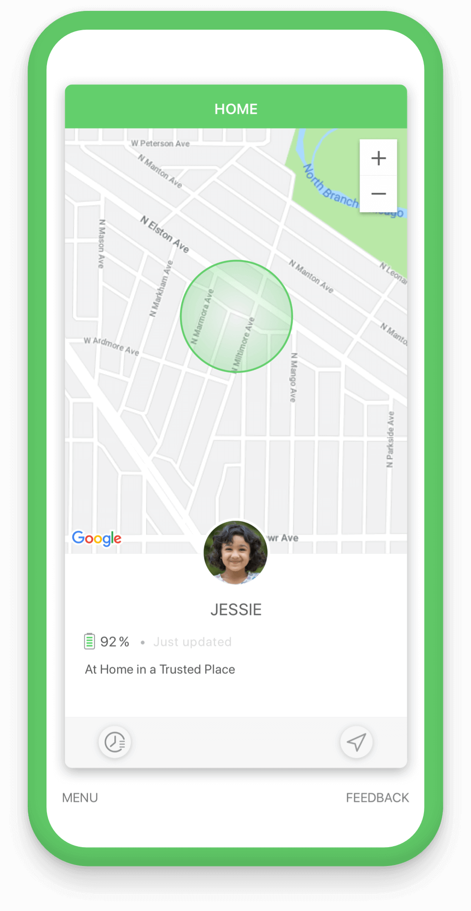 Set up trusted places in the app and know when they arrived
