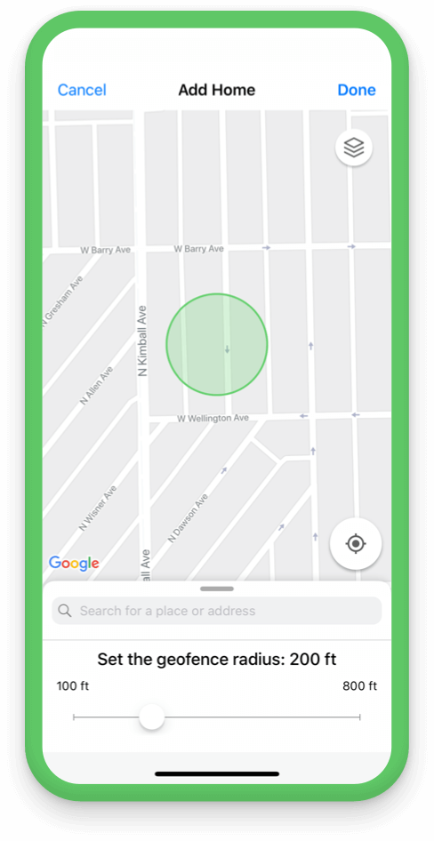 Set your custom geofences in the app