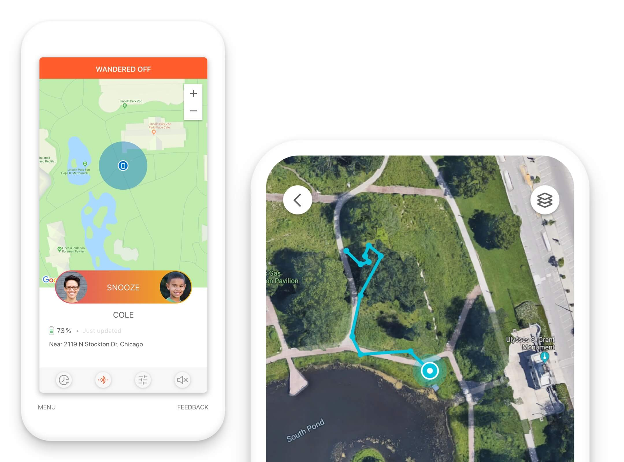 The Jiobit App can show you live tracking on a map and give you notifications when they wander too far