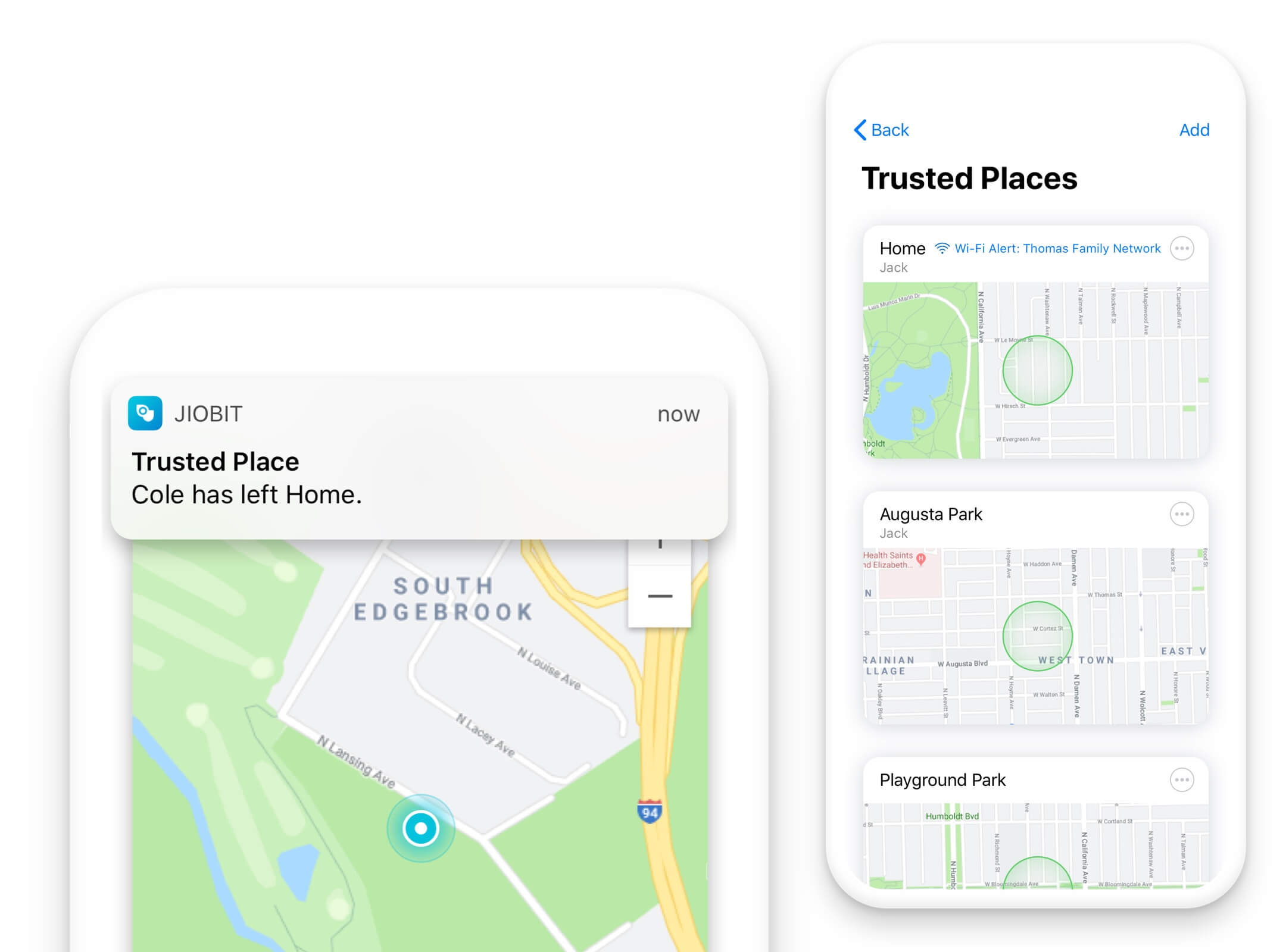 The Jiobit App shows you where they were and where they're going