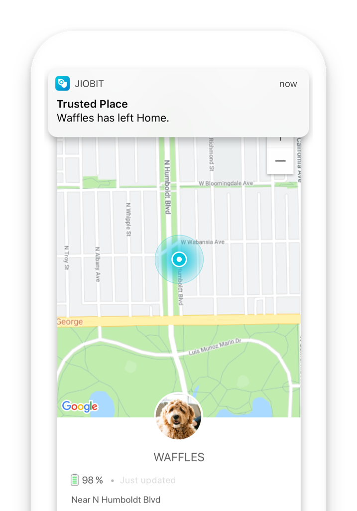Get notifications of when your pet leaves your property with the Jiobit App
