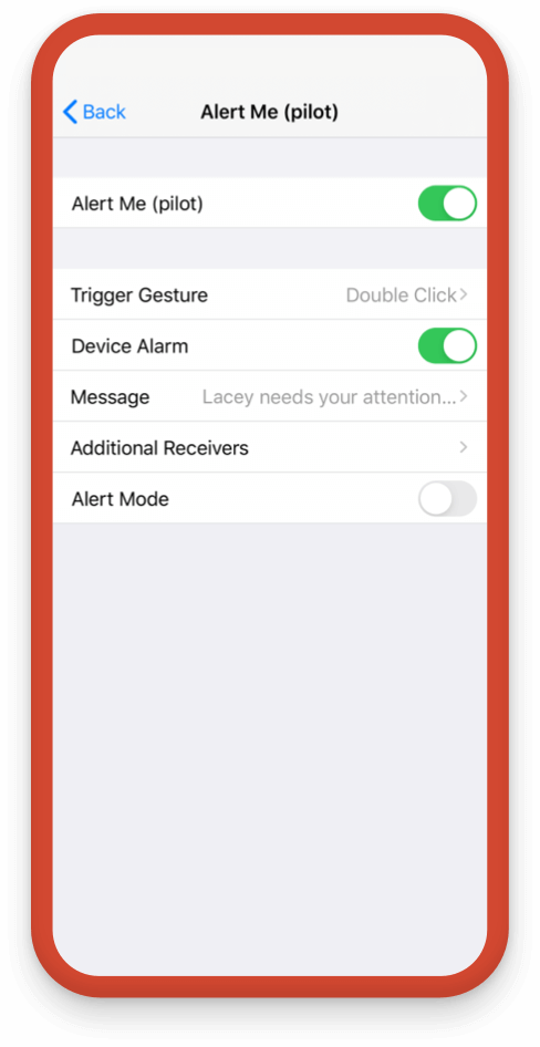 Change the options for the SOS alert in the app