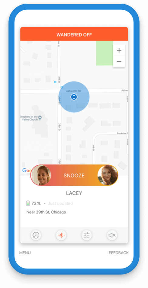 Jiobit Location Tracking for adult safety - See when they have traveled too far away in a crowd