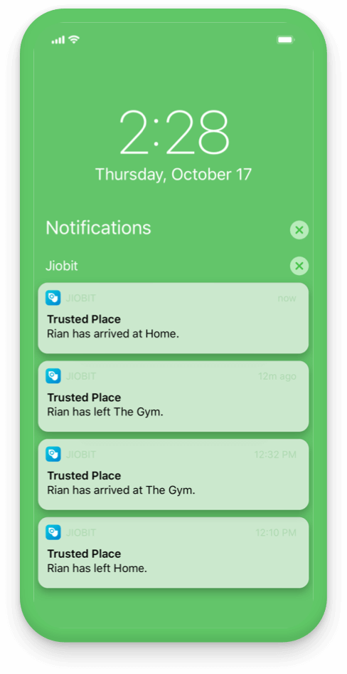 Get notifications when they come and go from a trusted place