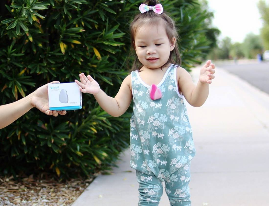 Jiobit being worn by an active toddler