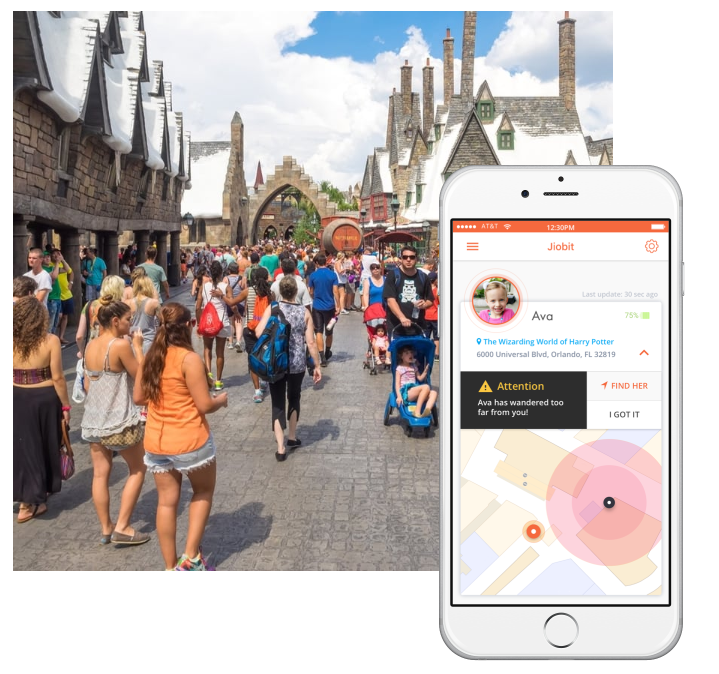 Jiobit tracking a child in a busy amusement park