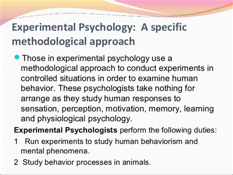 Research and Experimental Psychology, Other