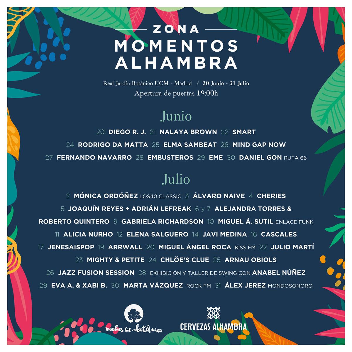 Cartel del festival Noches del Botánico para su edición de 2019