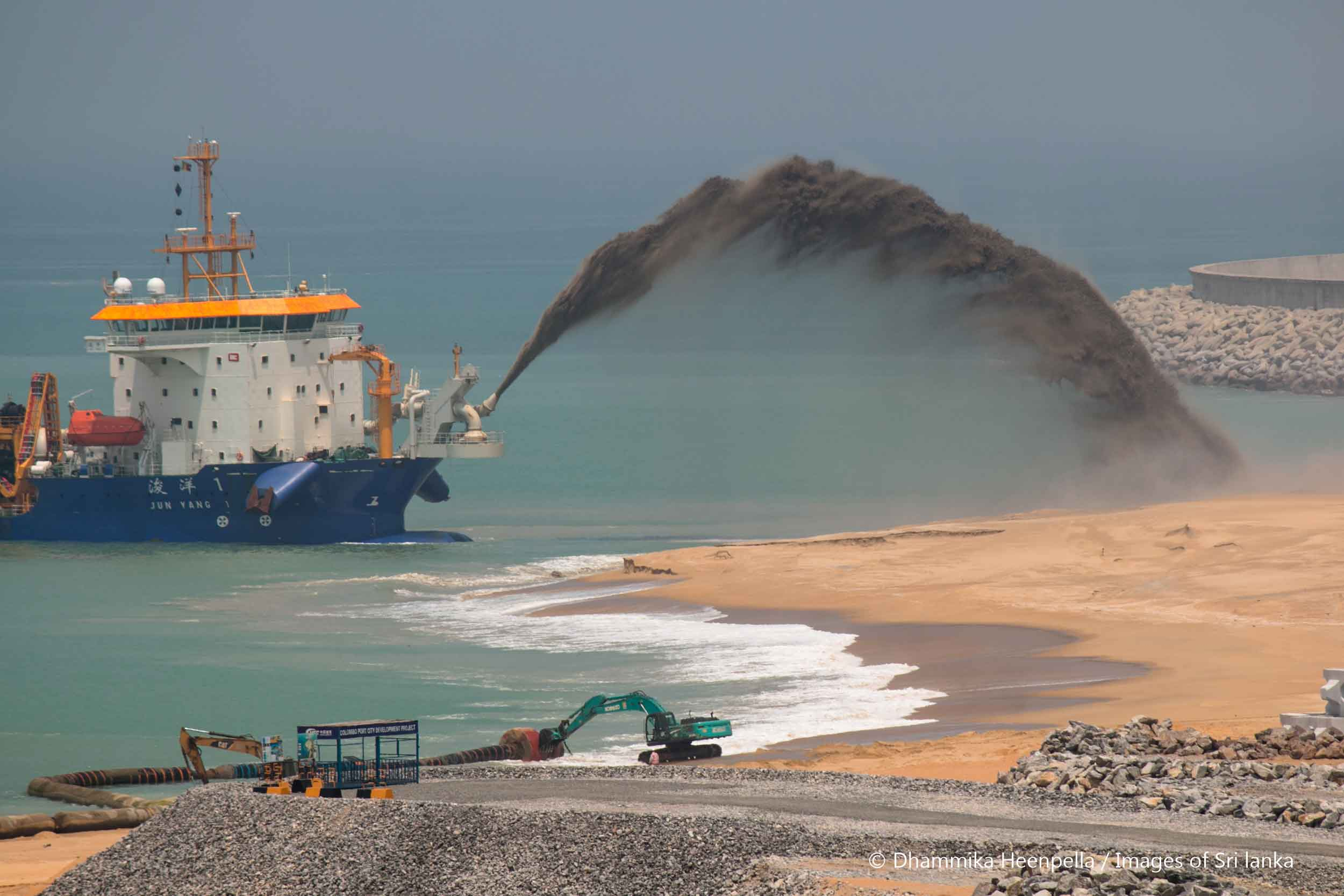 New land emerges from the sea at the US$1.4 billion Chinese-backed Port City project near Sri Lanka's main port, part of Beijing's ambitious global expansion of investment and aid.