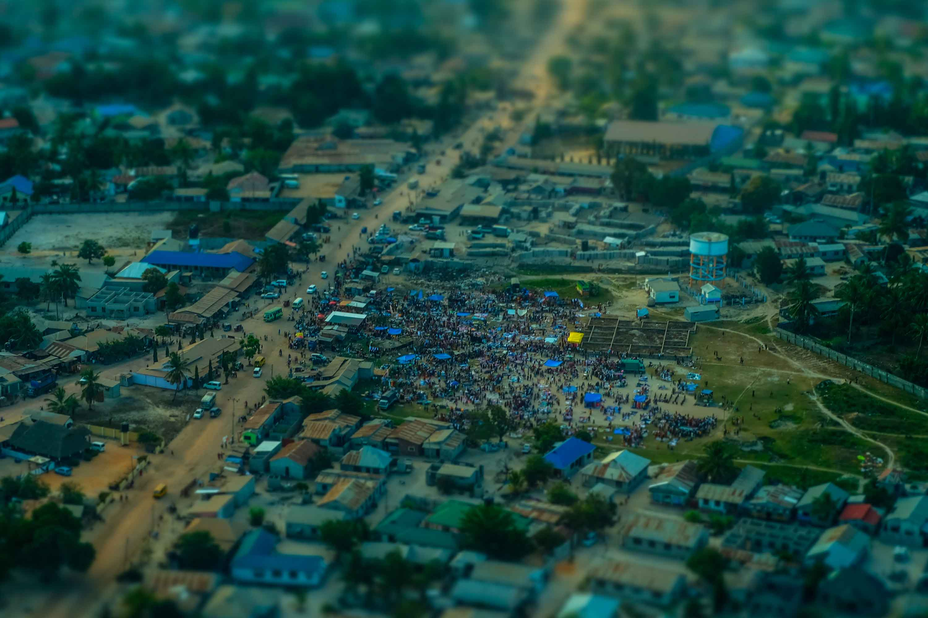 A street market in Dar es Salaam, Tanzania, fills up early in the morning.